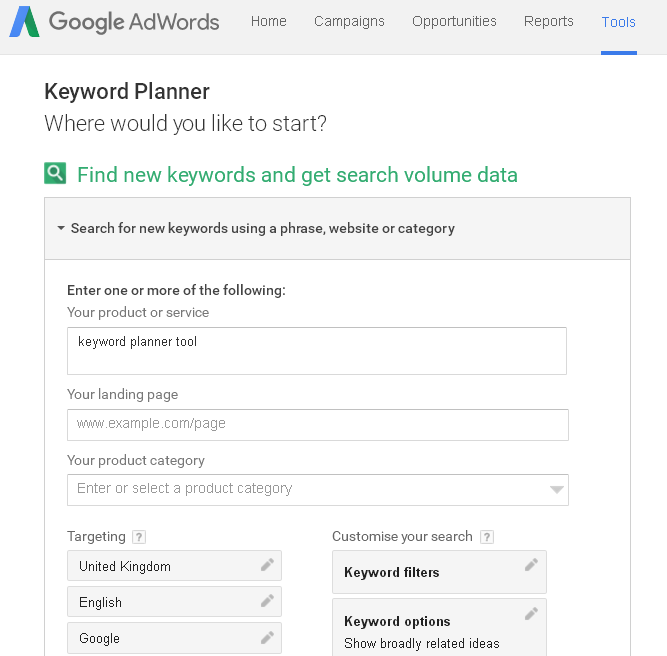 Keyword Planner – Google AdWords 3